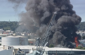 A crushed lithium ion battery is thought to have caused this massive blaze at a recycling centre in Guernsey