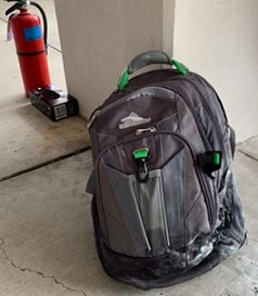 Two lithium batteries ignited in this rucksack at Yeager Airport in West Virginia, USA.